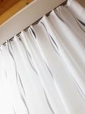 Gardine transparent, WEISS mit GRAU hochwertiger Sherli*Wellenmuster* MASSANFERTIGUNG Verschiedene Größen