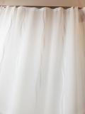 Gardine transparent, Weiss hochwertiger Sherli Wellenmuster  MASSANFERTIGUNG Verschiedene Größen