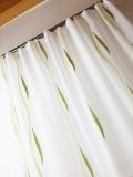 Gardine transparent, Weiss mit GRÜN  hochwertiger Sherli *Wellenmuster* MASSANFERTIGUNG Verschiedene Größen