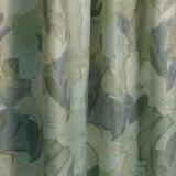 Gardine Vorhang Dekoschal *bis 350 cm lang*Kräuselband* Satin bedruckt,grün* MASSANFERTIGUNG*